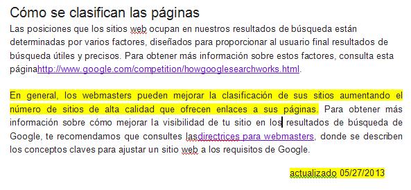 clasificacion paginas google